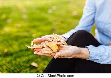 chão, mulher, dela, sentando, outono, folhas, mãos, jovem, outono, parque, segurando, ao ar livre, menina, feliz