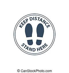 chão, passos, aqui, levantar, linha, mantenha, ordem, sinal, distância, círculo, fila