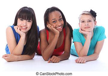 chão, pretas, asiático, branca, amigos, menina, mentindo