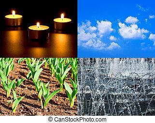 chão, quatro, jogo, ar, fogo, água, elementos