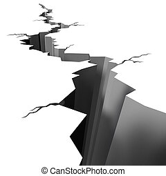 chão rachado, terremoto, chão