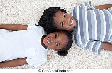 chão, retrato, irmão, irmã, afro-american