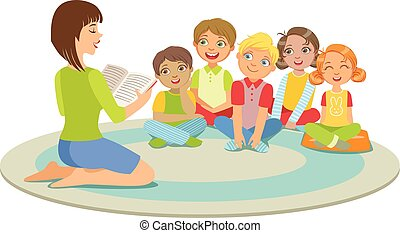 chão, sentando, história, pequeno, professor, grupo, crianças, ao redor, leitura