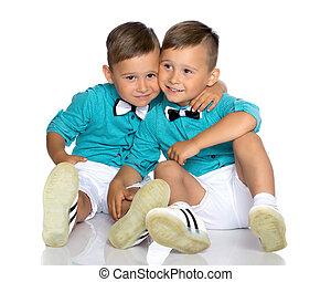 chão, sente, dois meninos, pequeno