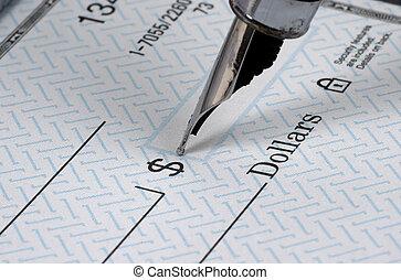 chèque, écriture