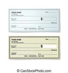 chèque banque, gabarit, vide