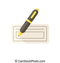 chèque, banque, icône