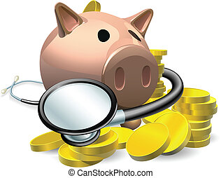 chèque, concept, financier, santé