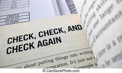chèque, encore, mot, sur, les, livre