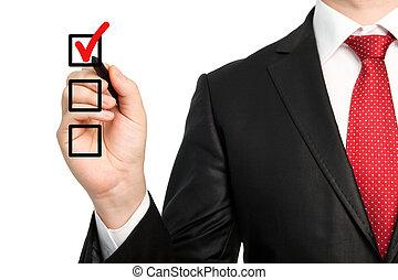 chèque, faire, isolé, écriture, marque, stylo, homme affaires, tenue, complet, cravate, choix, ou, rouges