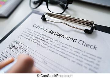 chèque, formulaire, fond, application, remplissage, main, criminel