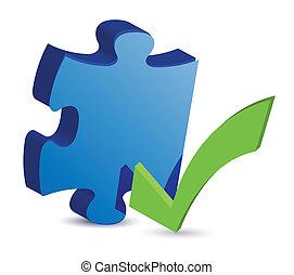 chèque, illu, morceau, puzzle, marque