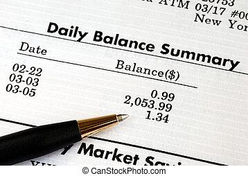 chèque, les, compte bancaire, déclaration