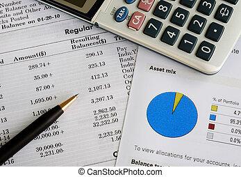 chèque, les, mensuel, extrait de compte, relevé bancaire