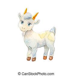 chèvre, autocollant, drawing., watercolor., illustration, livre enfants, dessin animé, gentil
