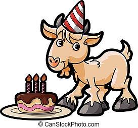 chèvre, fête, anniversaire, déguisement, utilisation