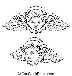 chérubin, ange, ensemble, isolé, sur, fond blanc
