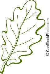 chêne, 3, feuille, arbre, pictogramme