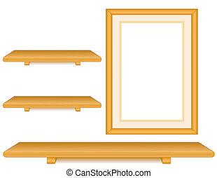 chêne, cadre, bois, étagères, image