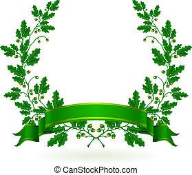 chêne, vecteur, couronne