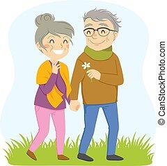 chód, para, romantyk, starszy