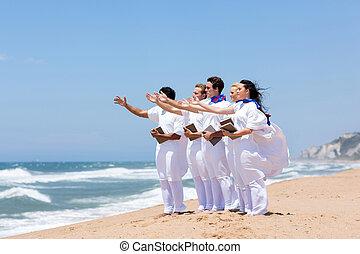 chór, śpiew, plaża, młody, kościół