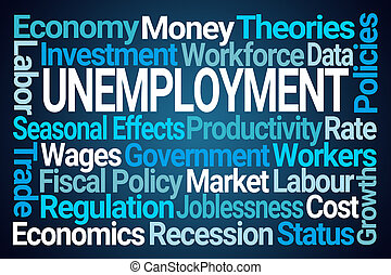 chômage, nuage, mot