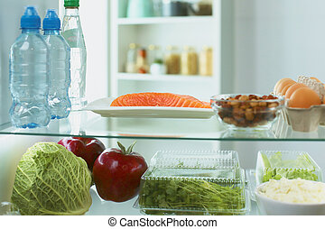 chłodnia, owoce, roślina, świeży, otwarty, wypełniony