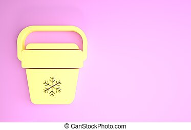 chłodnica, handheld, ikona, render, odizolowany, minimalizm, refrigerator., żółty, zamrażarka, ilustracja, concept., tło., bag., przenośny, torba, różowy, 3d
