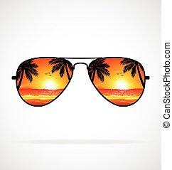chłodny, plaża, wektor, zachód słońca, sunglasses, lotnik, odbity