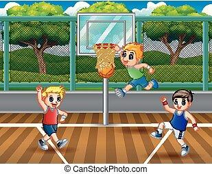 chłopcy, basketball dziedziniec, trzy, interpretacja