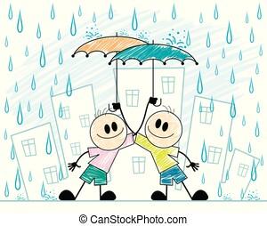 chłopcy, dwa, parasole