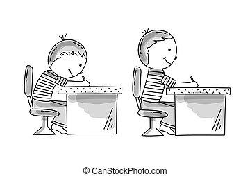 chłopcy, posiedzenie, na, przedimek określony przed rzeczownikami, biurko, kiepski, i, poprawny, pusture