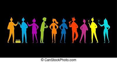 chłopcy, sylwetka, partia, przyjaciele, ludzie, projektować, girls., student, characters., zabawny, twój