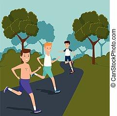 chłopcy, trening, styl życia, atletyka, działalność