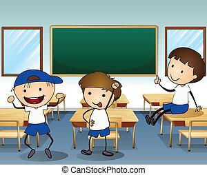 chłopcy, wnętrze, klasa, trzy, śmiech