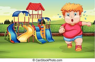 chłopieć bieg, park, tłuszcz