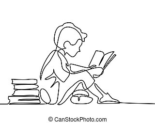 chłopieć czytanie, książka, studing