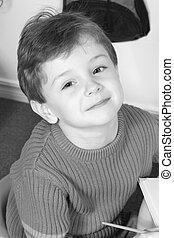 chłopieć dziecko, monochromia