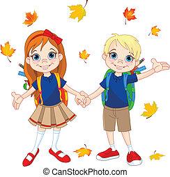 chłopieć i dziewczyna, gotowy, do, szkoła