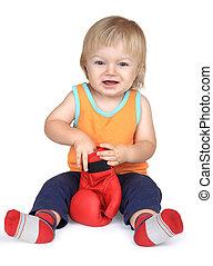 chłopieć posiedzenie, boks, pomarańcza, niemowlę, czerwony, gloves.