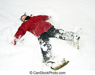 chłopiec, śnieg, leżący