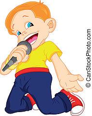 chłopiec, śpiew, młody