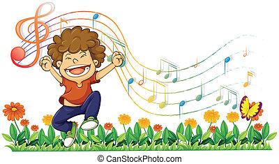 chłopiec, śpiew, notatki, głośny, muzyczny, poza