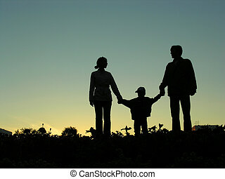 chłopiec, 2, zachód słońca, rodzina