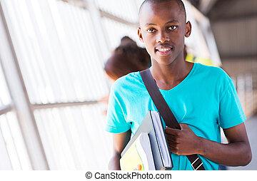 chłopiec, amerykanka, książki, kolegium, dzierżawa, afrykanin