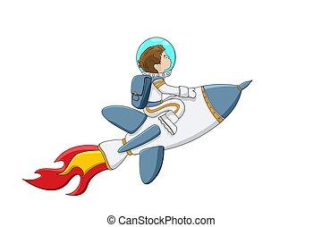 chłopiec, astronauta, rakieta
