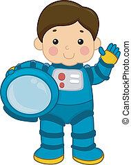 chłopiec, astronauta