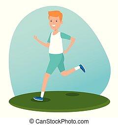 chłopiec, atletyka, praktyka, styl życia, działalność