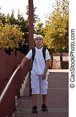 chłopiec, bandana., fotografia